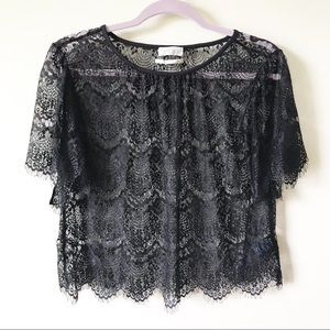 Urban Outfitters Eyelash Lace Cropped Top Size S